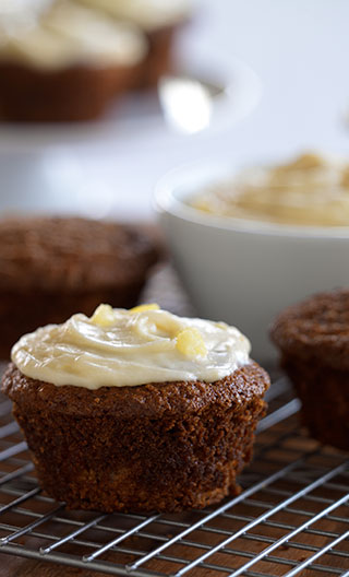 Carrot Cupcakes with Pineapple Cream Cheese Icing