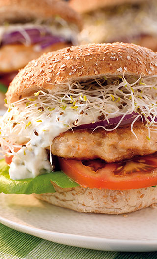 Grilled Salmon Burgers with Tzatziki Sauce