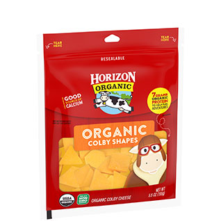 Organic colby cheese shapes