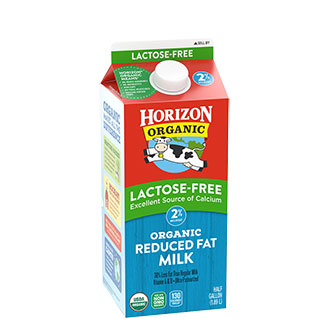 Organic lactose-free reduced fat milk
