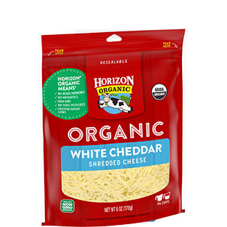 Organic shredded white cheddar cheese
