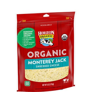Organic shredded Monterey jack cheese