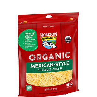 Organic shredded Mexican-style cheese